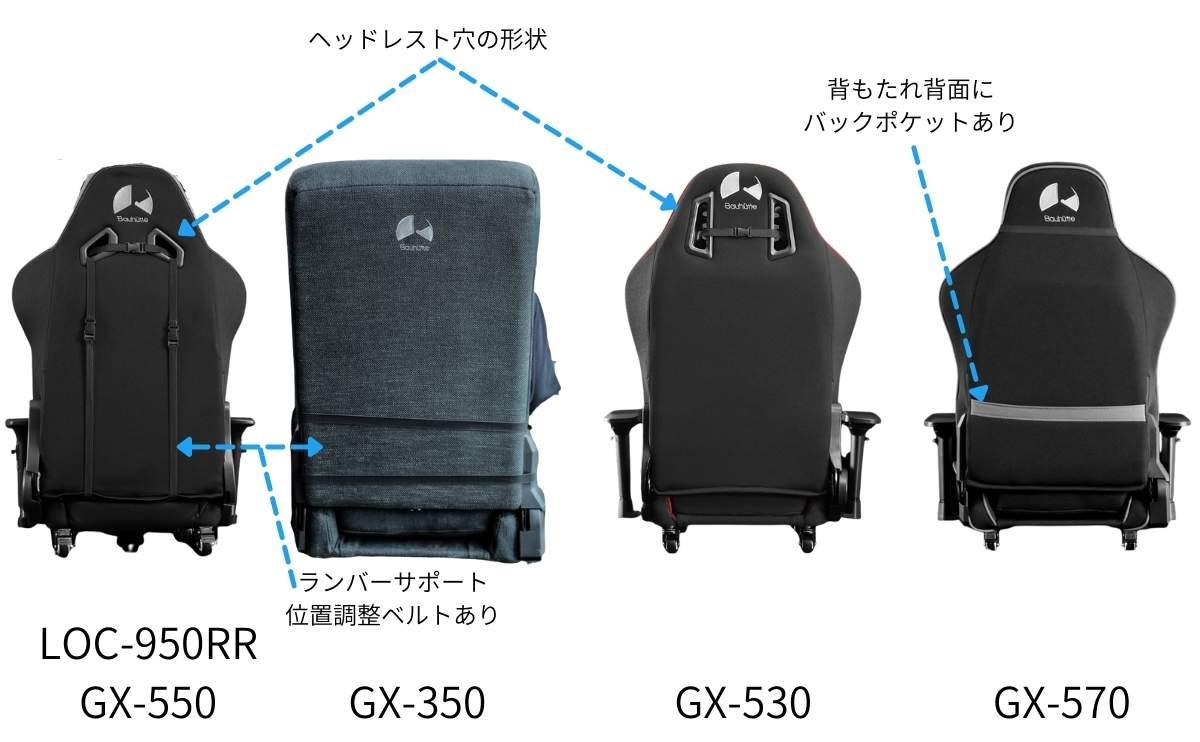 Bauhutte座椅子モデルバックデザインの比較