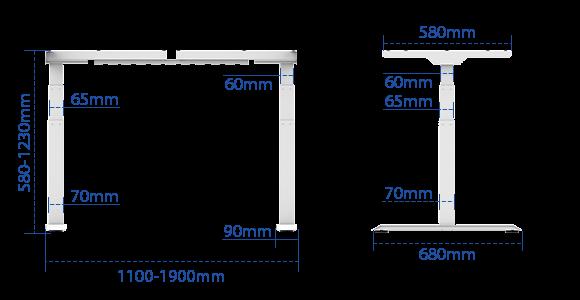 FLEXISPOT E7脚部サイズ