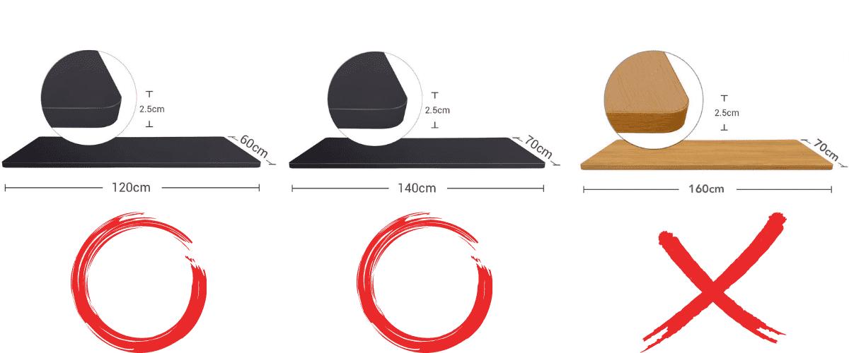 FLEXISPOT E8天板サイズ