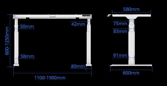 FLEXISPOT E8脚部サイズ