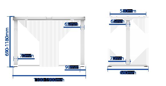FLEXISPOT EJ2フレームサイズ