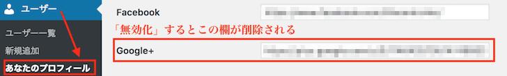 ユーザー画面Google+プロフィール欄