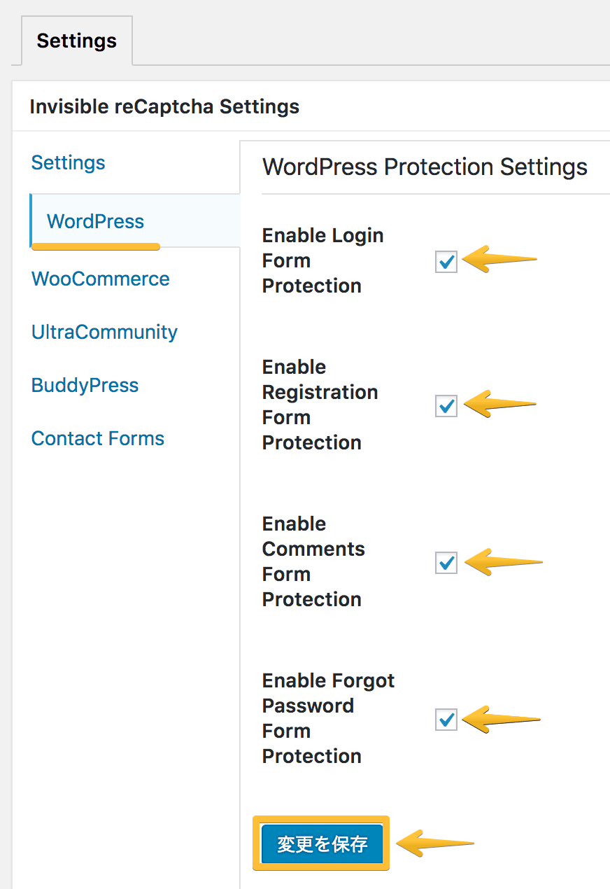 WordPress Protection Settings