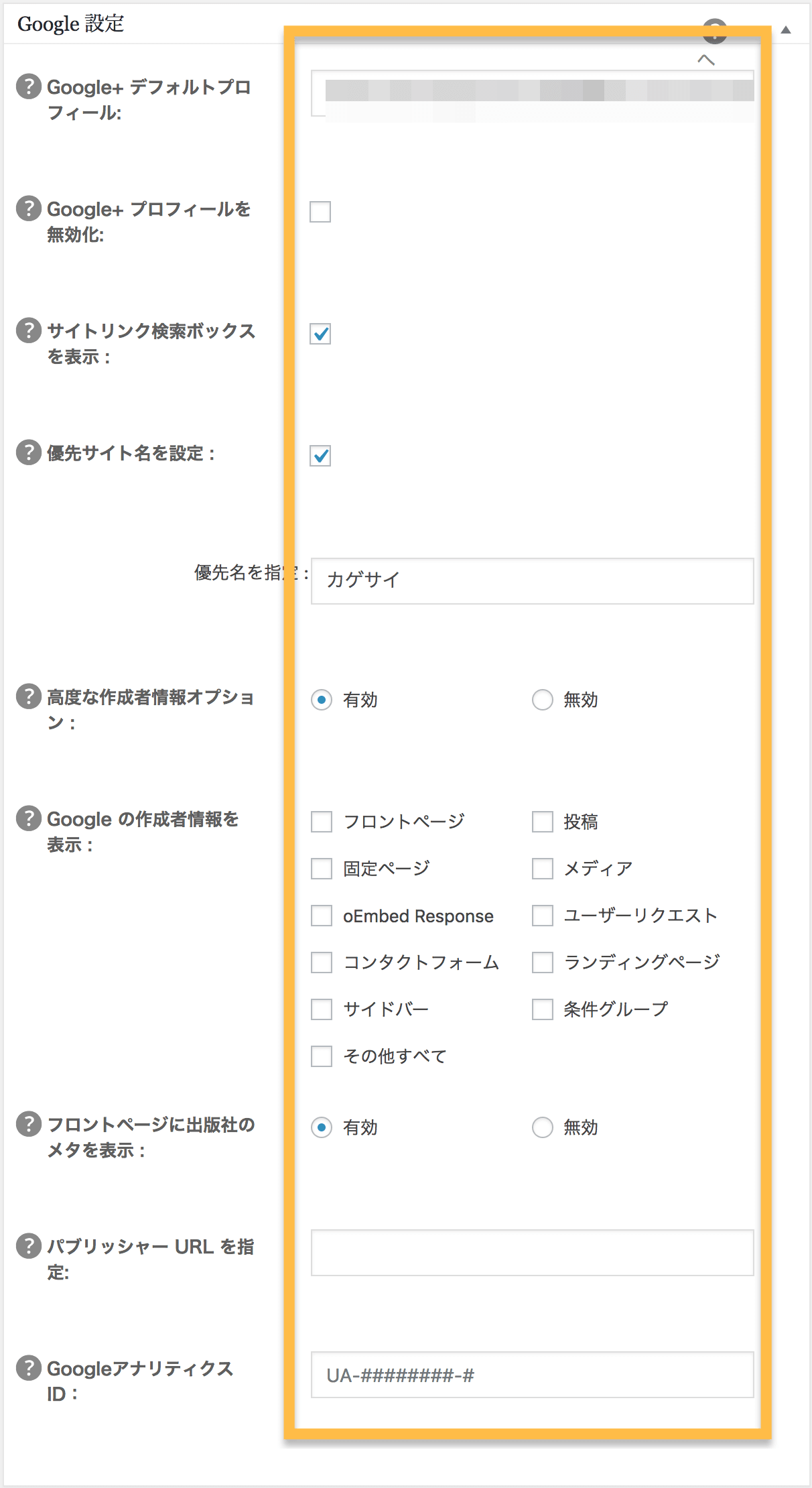 All in One SEO PackのGoogle設定