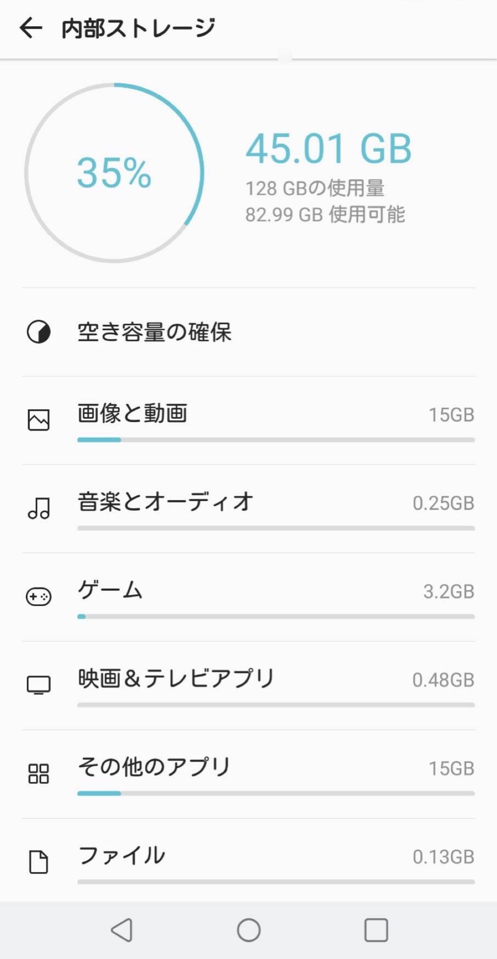 Androidの内部ストレージ内訳