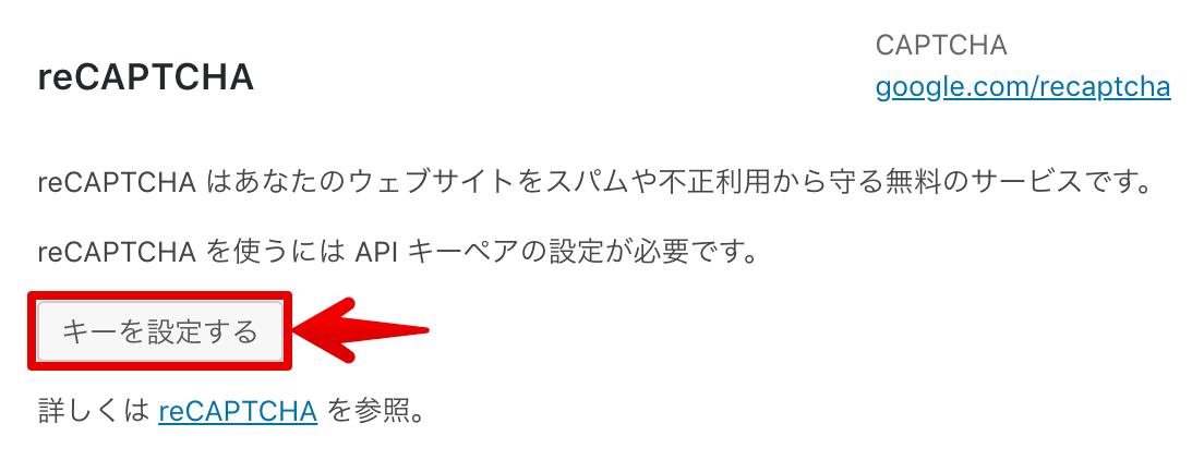 ContactForm7reCAPTCHAキー設定