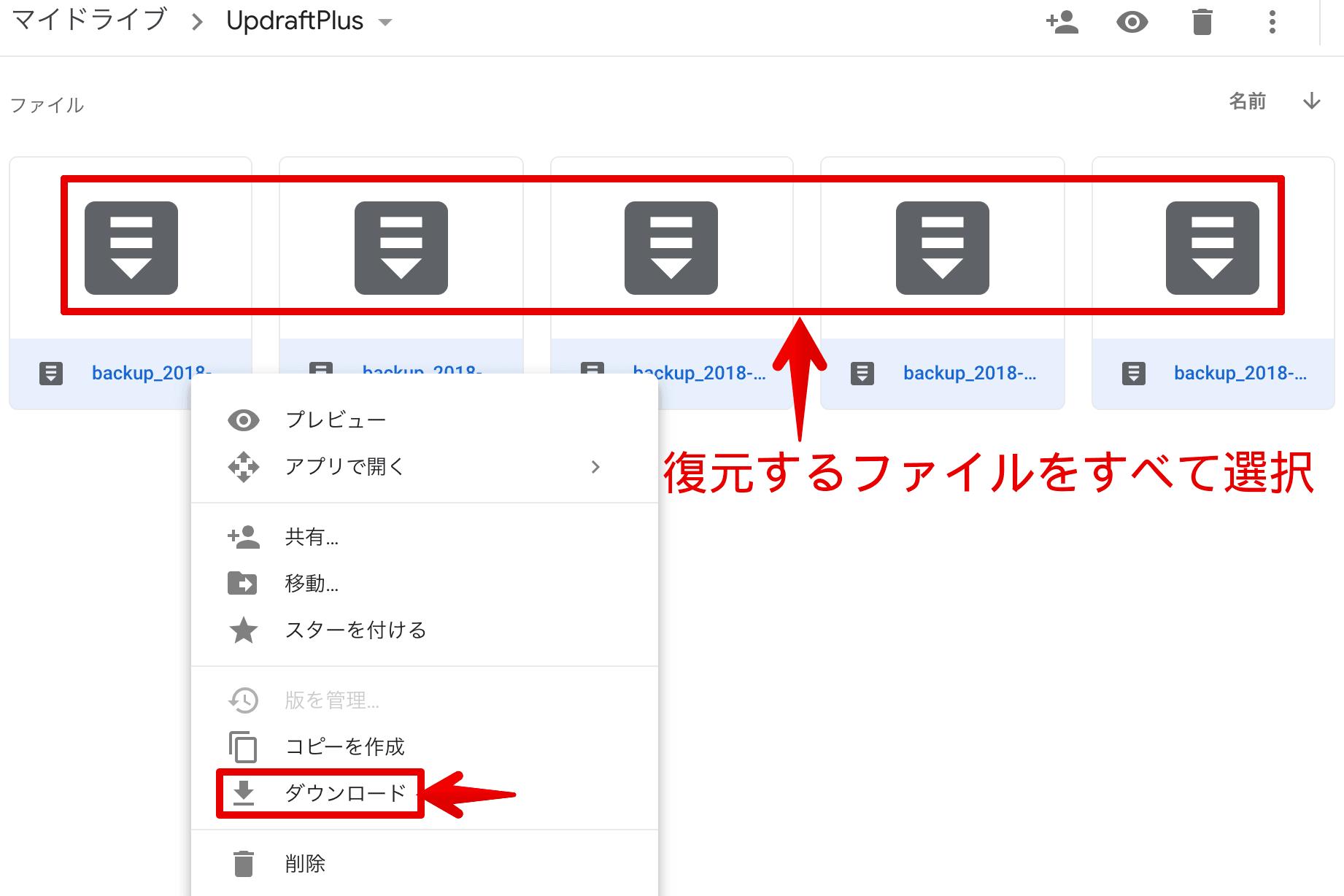 Googleドライブ-UpdraftPlusファイルダウンロード