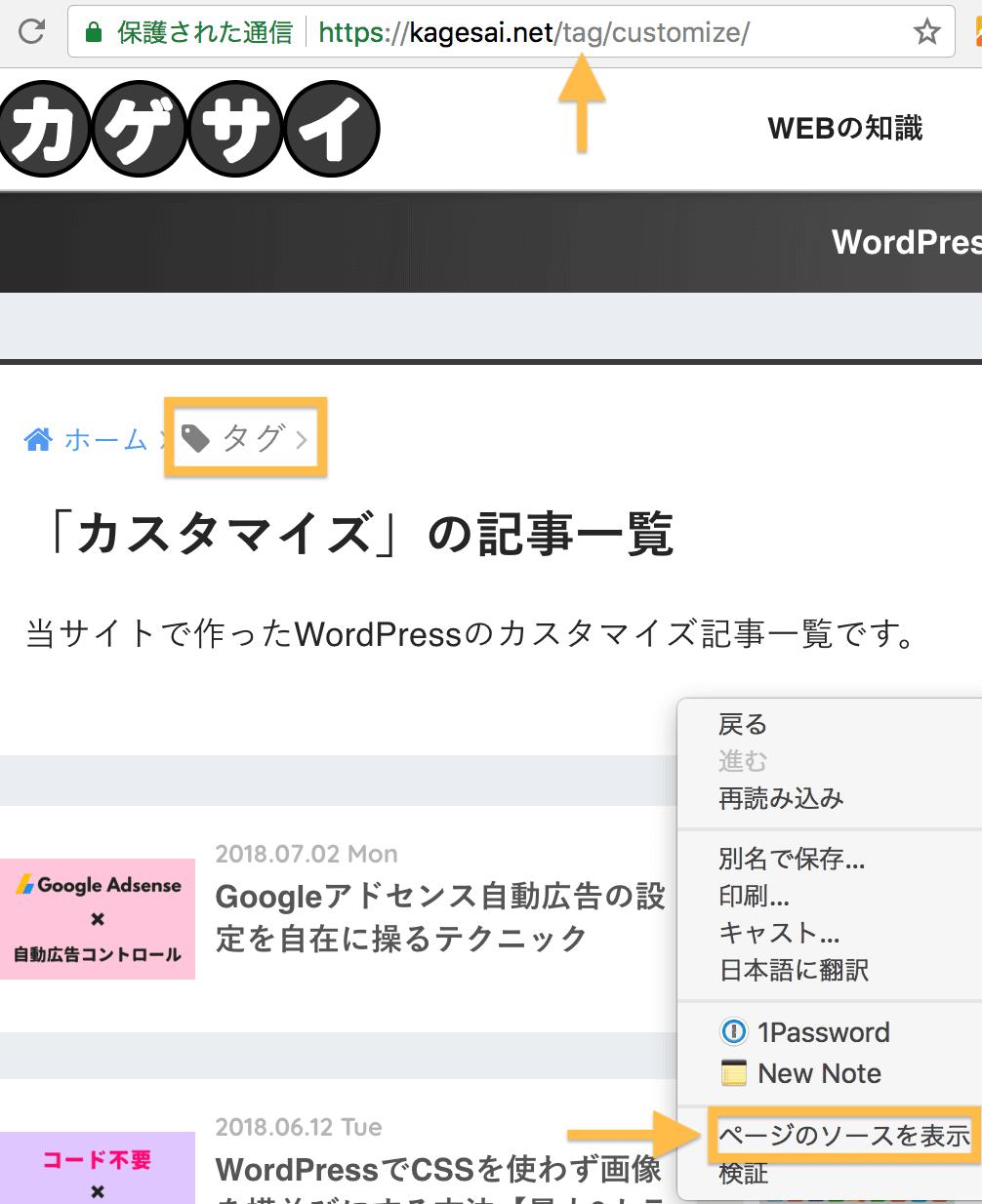 WordPressタグページのソースを表示